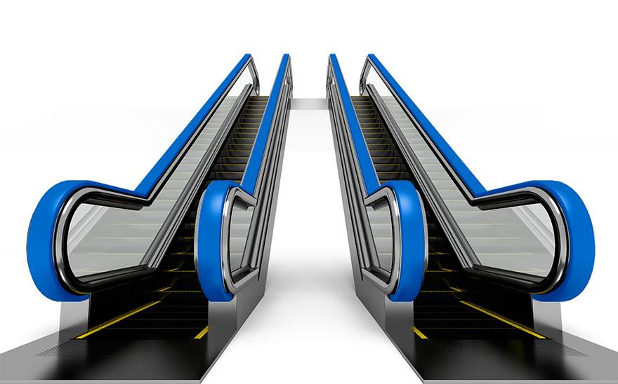 Escaleras electricas azules
